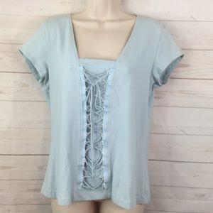 Fashion bug extra large baby blue corset T-shirt